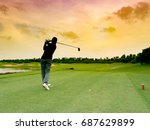 lady golfer  girl golf player... | Shutterstock . vector #687629899