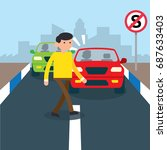 road safety campaign... | Shutterstock .eps vector #687633403
