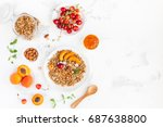 breakfast with muesli  fruits ... | Shutterstock . vector #687638800