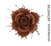 splash of chocolate flower rose.... | Shutterstock . vector #687640768