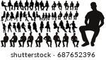 vector  set of sitting men... | Shutterstock .eps vector #687652396