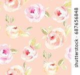cute  vintage watercolor flower ... | Shutterstock . vector #687656848