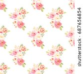 cute  vintage floral wallpaper... | Shutterstock . vector #687656854