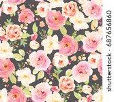 modern  repeating watercolor... | Shutterstock . vector #687656860