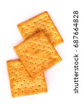 Small photo of Close up healthy whole wheat cracker on white background