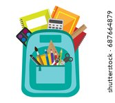 open vector bag with school...   Shutterstock .eps vector #687664879