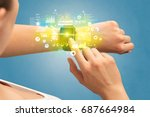 hand with smartwatch and health ... | Shutterstock . vector #687664984