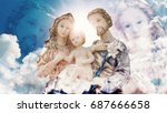 Small photo of Mary Joseph and Jesus heavenly family in the heaven