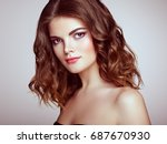 brunette woman with long and... | Shutterstock . vector #687670930