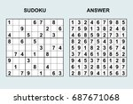 vector sudoku with answer 80.... | Shutterstock .eps vector #687671068