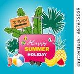 summer vacation poster design... | Shutterstock .eps vector #687673039