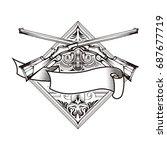 weapon vector design label ...   Shutterstock .eps vector #687677719
