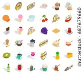 beverage icons set. isometric... | Shutterstock .eps vector #687679660