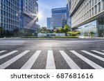 empty floor with modern... | Shutterstock . vector #687681616