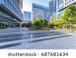 empty floor with modern... | Shutterstock . vector #687681634