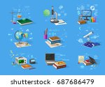 chemistry flasks  bio... | Shutterstock .eps vector #687686479