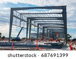 industrial construction site... | Shutterstock . vector #687691399