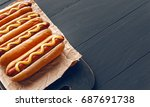 barbecue grilled hot dogs with  ... | Shutterstock . vector #687691738
