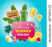 summer vacation poster design... | Shutterstock .eps vector #687694123
