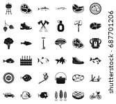 bbq rest icons set. simple... | Shutterstock .eps vector #687701206