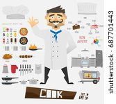 character cartoon chef. set of... | Shutterstock .eps vector #687701443