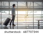 young asian man walking in the...   Shutterstock . vector #687707344
