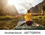 joyful tourist  travels along... | Shutterstock . vector #687708904