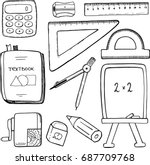 vector set  school stationary... | Shutterstock .eps vector #687709768
