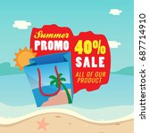 summer sale with shopping bag... | Shutterstock .eps vector #687714910