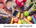 fitness concept with exercise...   Shutterstock . vector #687716149