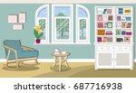 stylish cute living room... | Shutterstock .eps vector #687716938