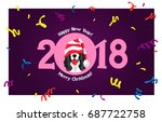 happy new year and merry... | Shutterstock .eps vector #687722758
