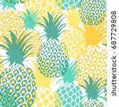 pineapples seamless pattern.... | Shutterstock .eps vector #687729808