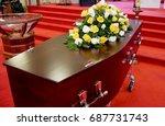 funeral casket  coffin burial ...   Shutterstock . vector #687731743