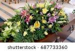 funeral casket  coffin burial ... | Shutterstock . vector #687733360