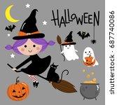 cute witch  halloween | Shutterstock .eps vector #687740086