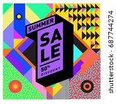 summer sale memphis style web... | Shutterstock .eps vector #687744274