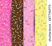set of seamless pattern bright... | Shutterstock .eps vector #687746974
