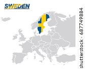 europa map with sweden flag... | Shutterstock .eps vector #687749884