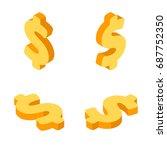 isometric dollar sign in all... | Shutterstock .eps vector #687752350