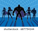 team of superheroes.  | Shutterstock .eps vector #687754144