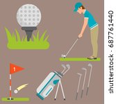 vector set of stylized golf... | Shutterstock .eps vector #687761440