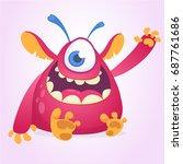 happy cartoon monster mascot.... | Shutterstock .eps vector #687761686