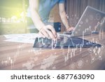 fintech financial technology ... | Shutterstock . vector #687763090