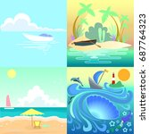set tropical seascape with... | Shutterstock . vector #687764323