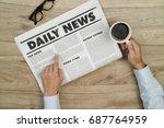 businessman reading newspapers... | Shutterstock . vector #687764959