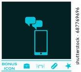 smartphone message icon flat....