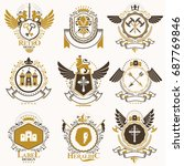 collection of vector heraldic... | Shutterstock .eps vector #687769846