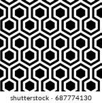 hexagonal monochrome seamless... | Shutterstock .eps vector #687774130