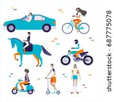 ride things and people... | Shutterstock .eps vector #687775078